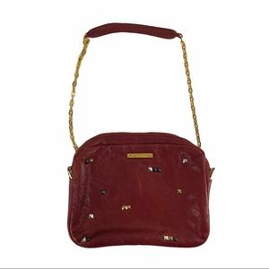 JACK RABBIT Red Leather Crossbody Bag Gold Chain